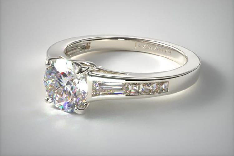 Platinum tapered baguette and princess engagement ring. (Photo by James Allen).