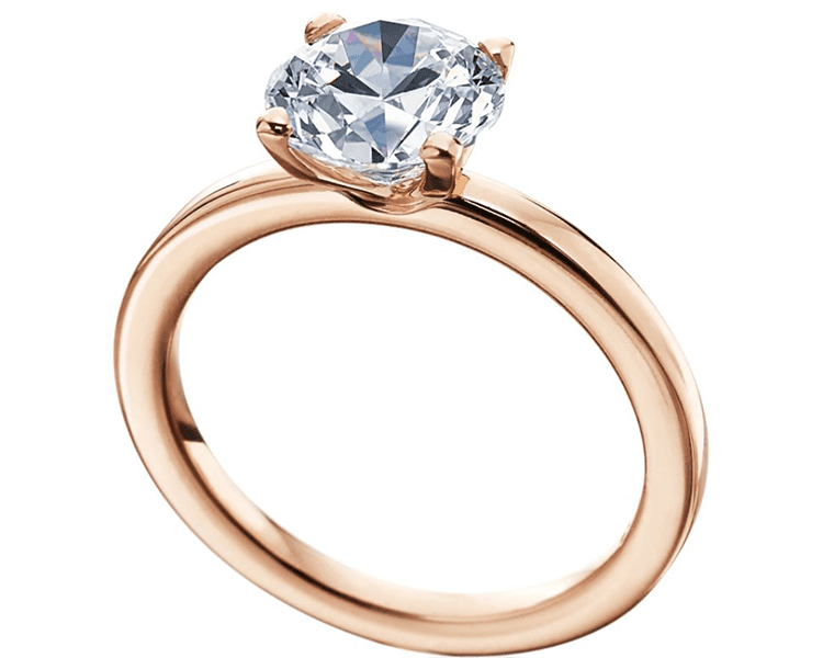 Rose gold solitaire engagement ring mounting. Photo by Tiny Jewel Box.
