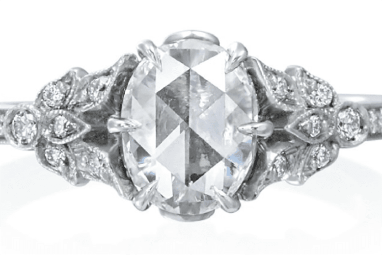 Roslyn Collection Platinum Three Leaf Engagement Ring Mounting. Photo by Tiny Jewel Box.