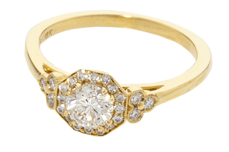 Roslyn Collection Yellow Gold Octagonal Halo and Trefoil Diamond Sides Engagement Mounting. Photo by Tiny Jewel Box.