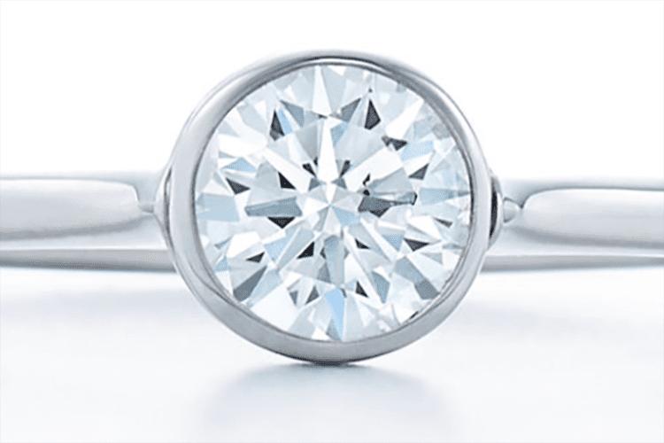 Round brilliant diamond ring bezel set in platinum. Photo courtesy of Kwiat.