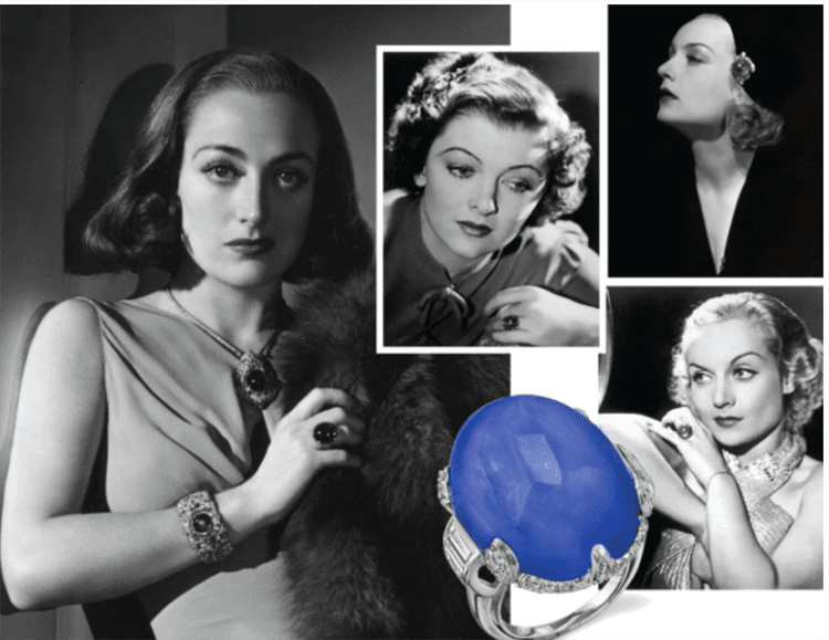 Sapphires of Old Hollywood Collage courtesy of bejeweledmag.com