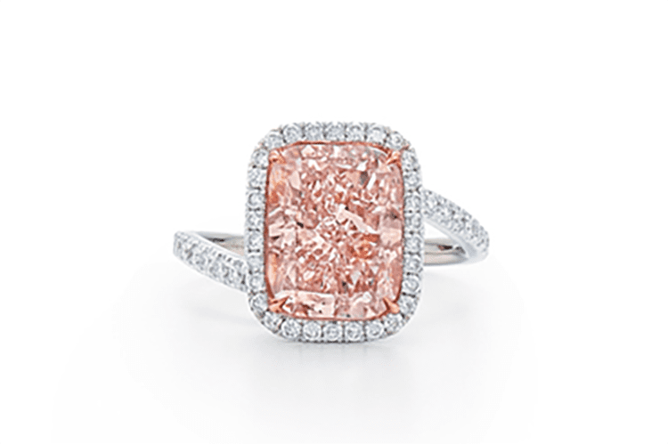 Kwiat fancy cushion cut pink diamond ring with round brilliant cut diamond halo and shank in rose gold. Price upon request. (Photo courtesy of Kwiat)