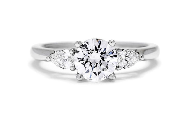 Sylvie bridal collection three stone engagment ring setting. (Photo by Greenwich St Jewelers).