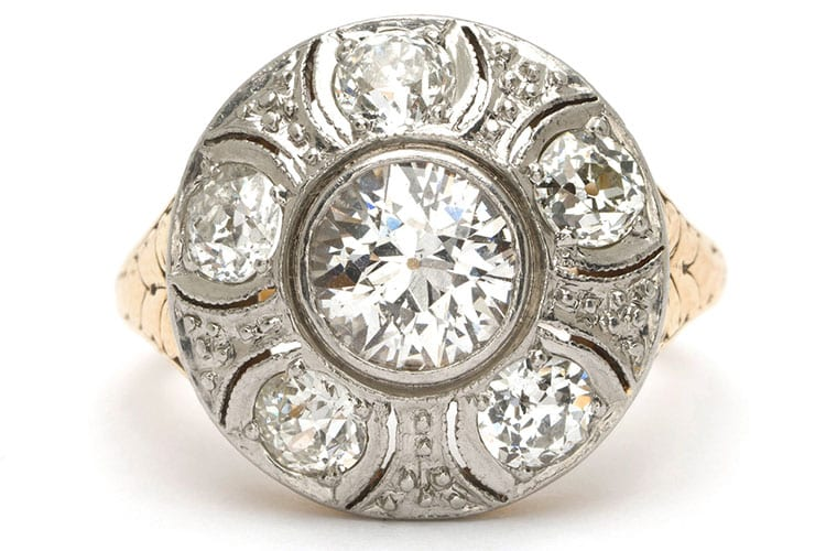 Sofia Kaman Edwardian platinum and 18K yellow gold European cut diamond cluster ring