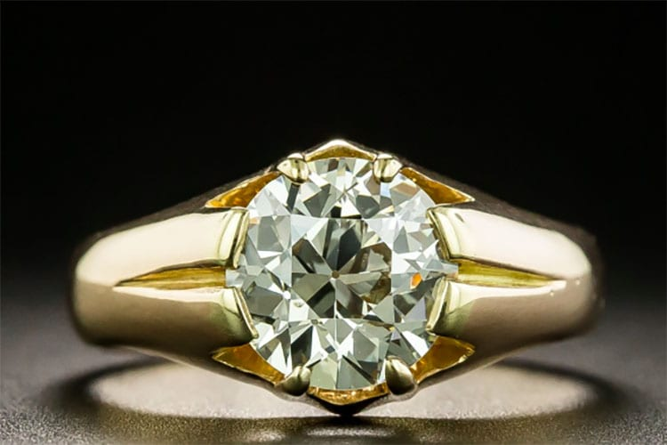 Lang Antiques European-cut diamond 1.91-carat late Victorian/turn-of-the-century solitaire set 18K yellow gold