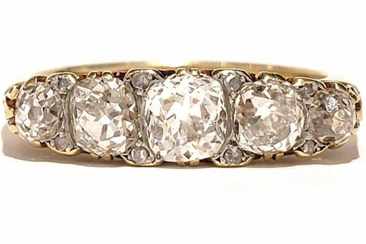 Victorian mine cut 18K yellow gold five-stone ring. (Photo courtesy of Gray & Davis)