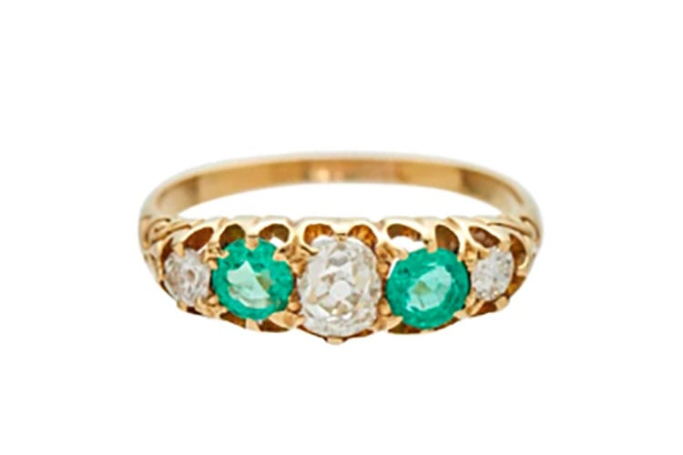 Metier SF yellow gold mine cut diamond and emerald five stone ring