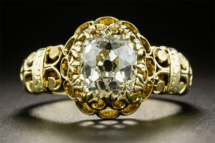 Lang Antiques 2.00-carat cushion-cut diamond set in a hand fabricated Victorian ring.