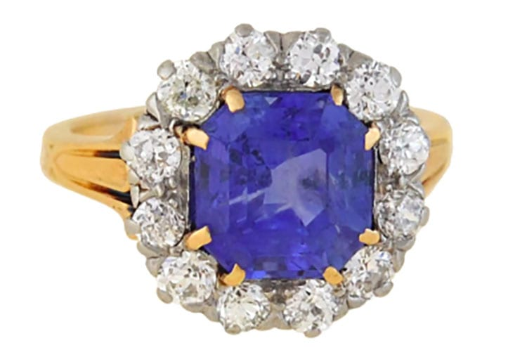 18K yellow gold Edwardian 3.00-carat Sri Lankan sapphire and diamond ring with old mine cut diamond surround. (Photo courtesy of A. Brandt & Sons)