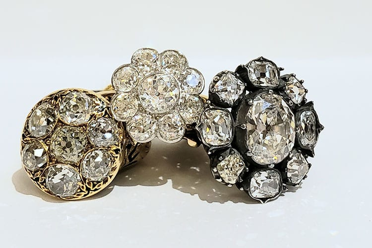 A group of Gray & Davis mine cut diamond Victorian and European Cut Edwardian cluster rings