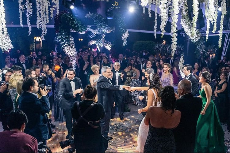 People dancing at a wedding reception