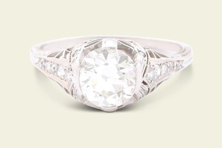 Erica Weiner Art Deco 1.10-carat old European cut diamond Filigree engagement ring. (Photo courtesy of Erica Weiner)