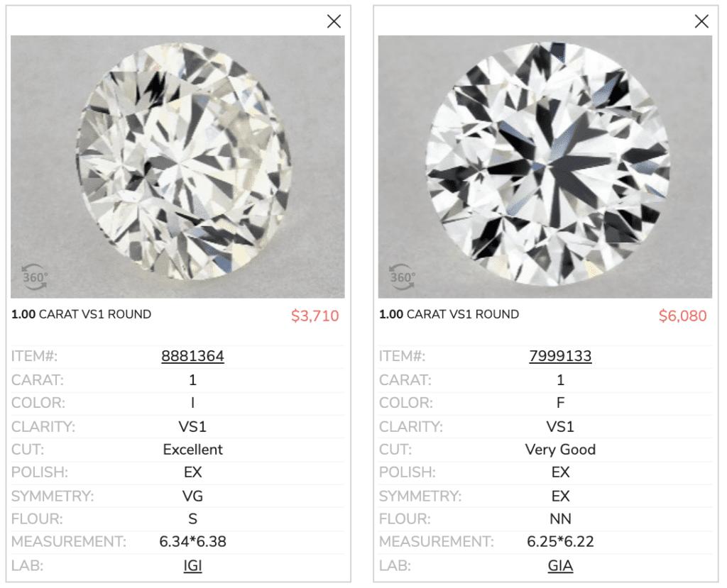 james allen engagement rings 1.00 carat round comparison