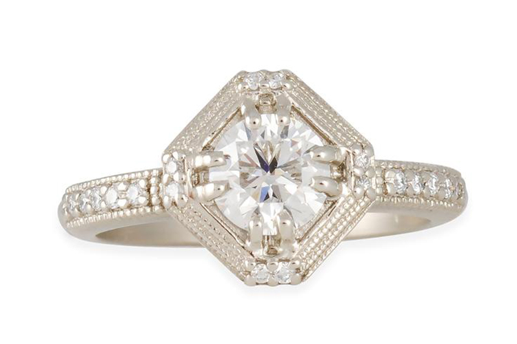 Megan Thorne's geometric engagement ring, features a.70ct GSI1 diamond with GIA certification and an 18K white gold gold band which holds .09 TCW of white diamonds. $5065. Photo courtesy of Megan Thorne.