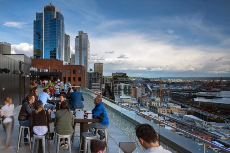 A view of the rooftop Nest Bar in Seattle