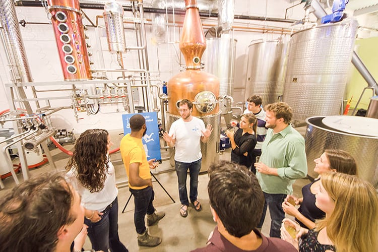 Pittsburgh Bachelor Party - people on a tour of the distillery