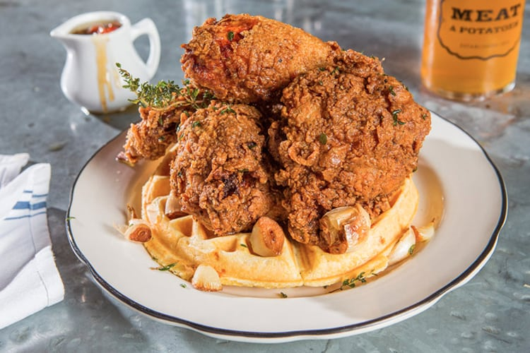 Pittsburgh Bachelor Party - chicken and waffles on a plate