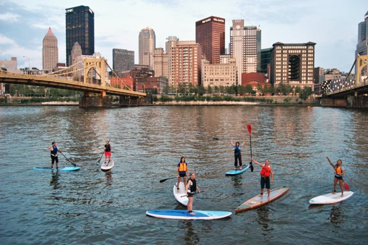 Pittsburgh Bachelor Party - paddleboarding on the river