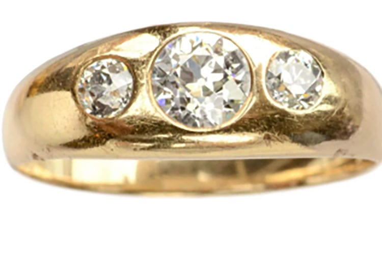 Three stone gypsy ring with European cut diamonds, turn-of-the-century, Butterlane Antiques