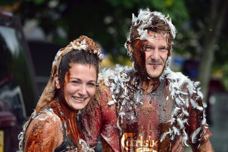"A Scottish couple smile after being ""blackened"" by their friends"