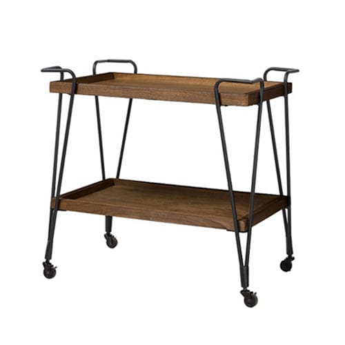 Rustic industrial style wood mobile serving bar cart the plunge - Industrial look mobel ...