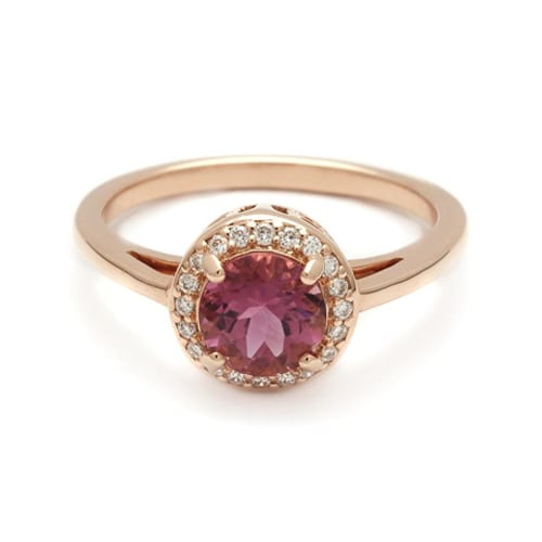 round rosette ring  rose gold and pink tourmaline