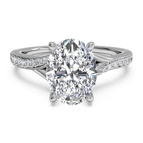 Modern Bypass Micropave Diamond Band Engagement Ring