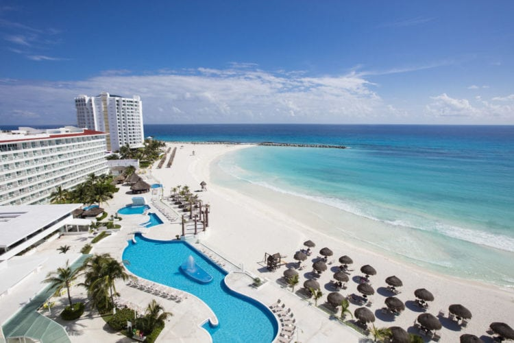 Cancun - birds eye view of resort and beach
