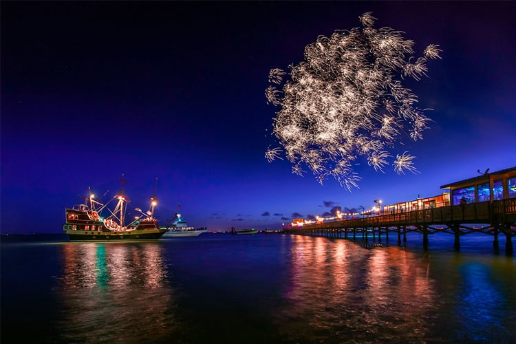 Fireworks above South Padre Island, Texas