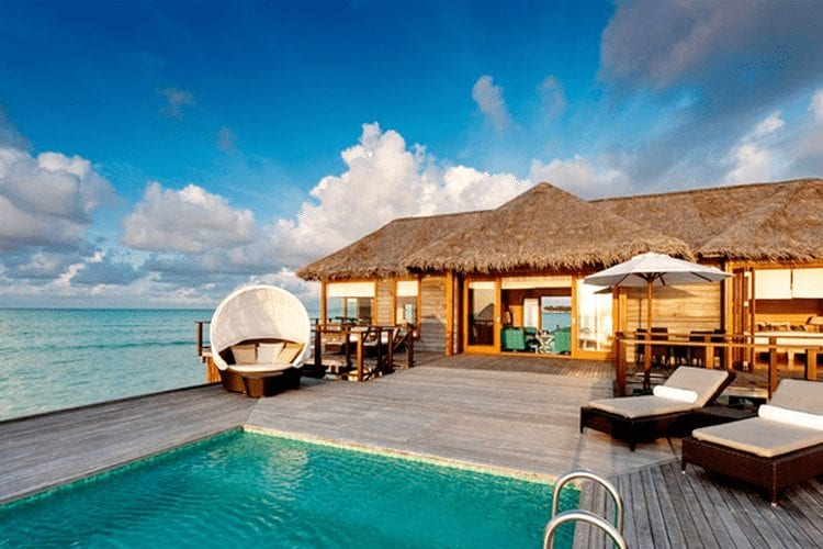 Maldives Honeymoon - view of villa and sundeck with pool