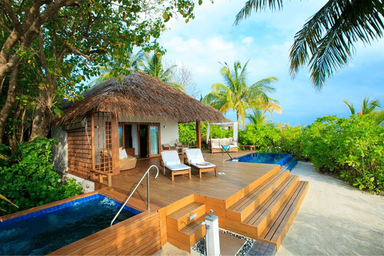 Maldives Honeymoon - View of thatched roof villa with sundeck and pool