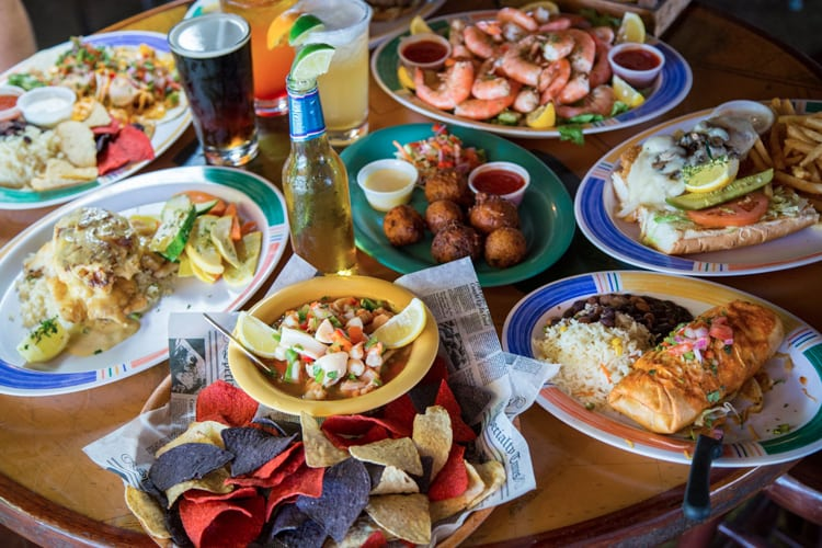 Assortment of seafood, drinks and other appetizers