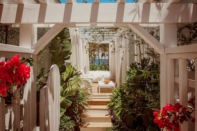 View inside veranda surrounded by tropical garden