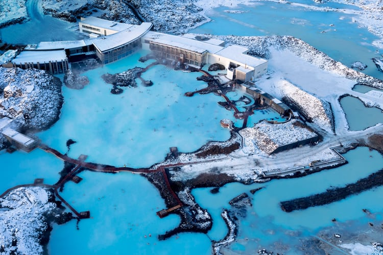 Overview of Iceland's Blue Lagoon hot spring spa.