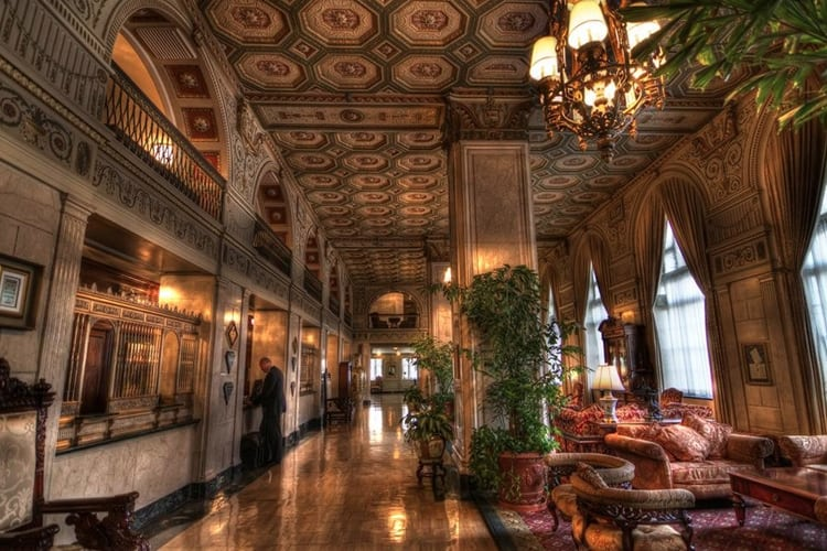 Bachelor Part Louisville - the lobby of the Brown Hotel