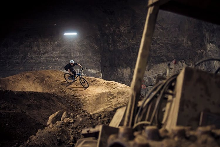 Bachelor Part Louisville - A mountain biker in the mega cavern