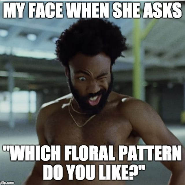 "Childish Gambino making a funny face ""when she asks ""what floral pattern do you like?"""""