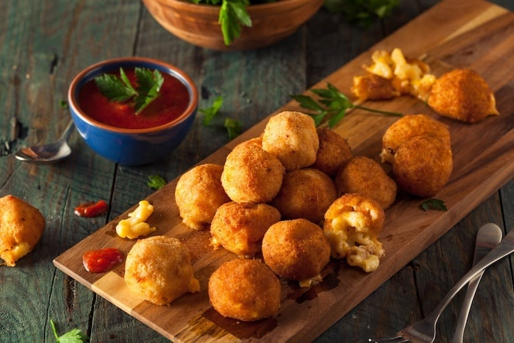 Plate of fried mac and cheese balls