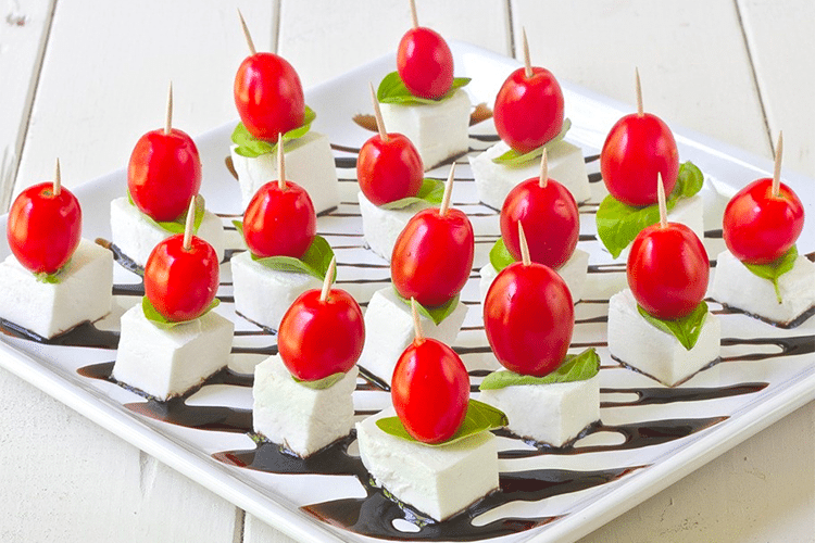 Tomato, basil, and mozzarella appetizers