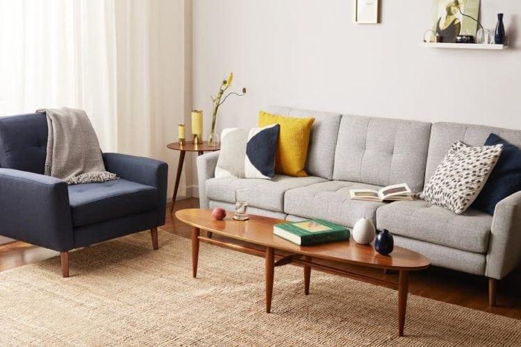 View of Burrow sofa and coffee table.
