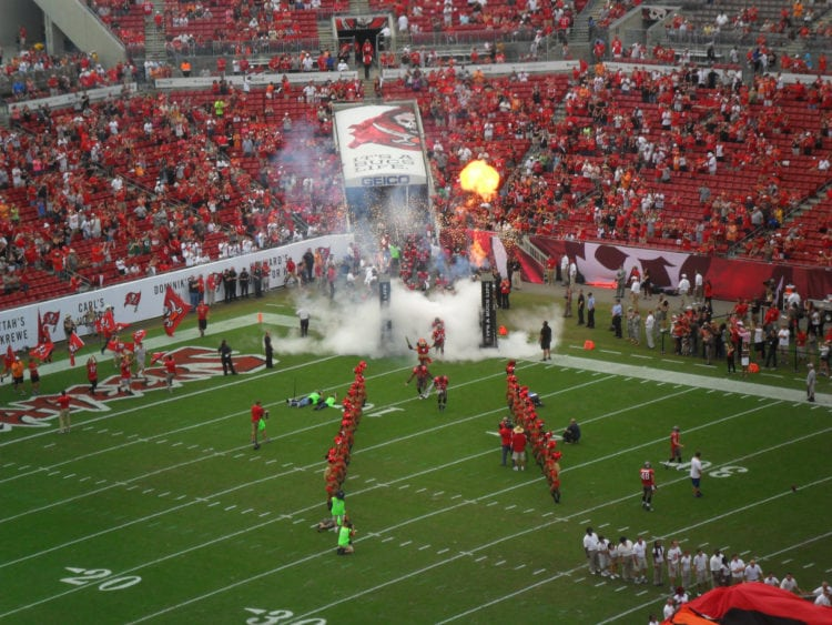 The Bucchaneers enter the field in Raymond James Stadium.