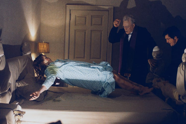 Color still from The Exorcist with Max Von Sydow and Linda Blair