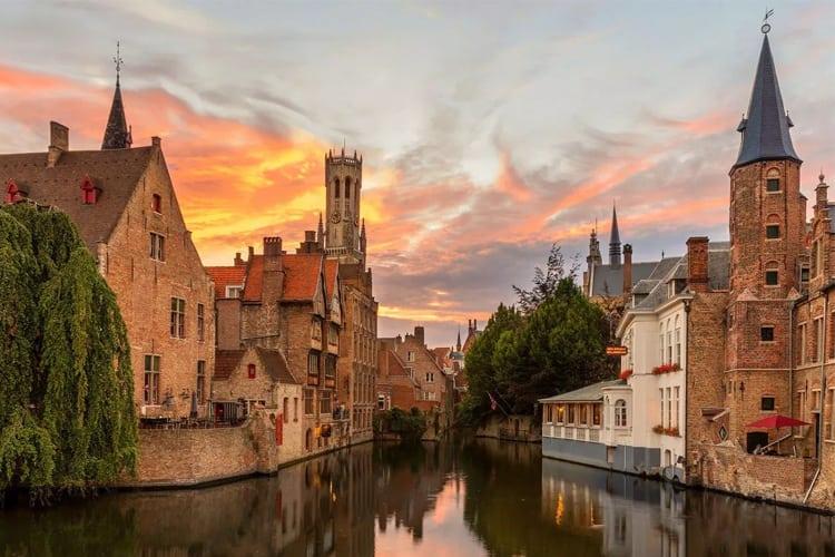 Bruges at sunset.