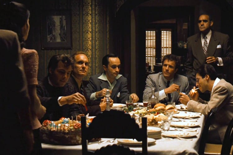 A family dinner scene from The Godfather