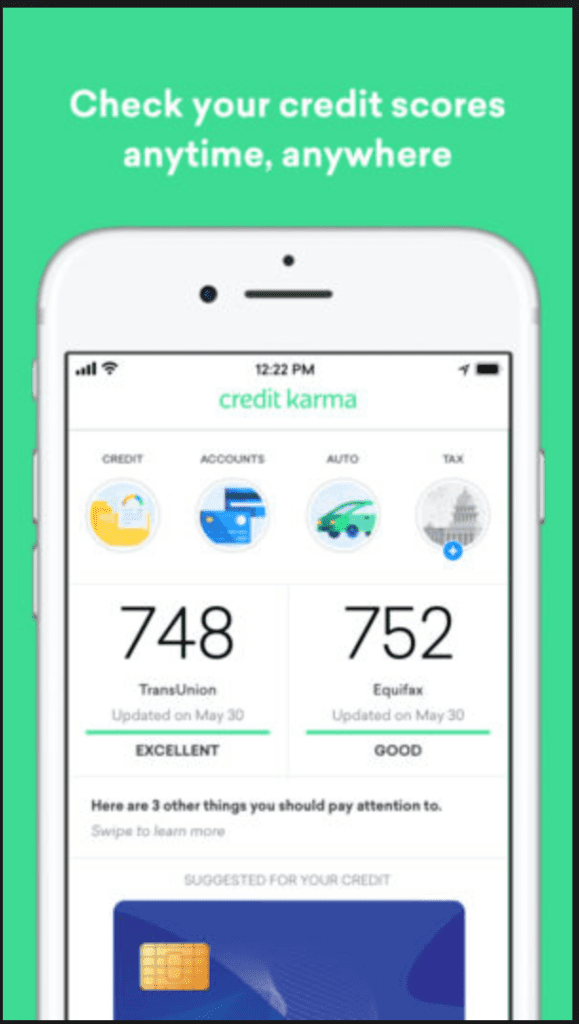 Screen sot from Credit Karma