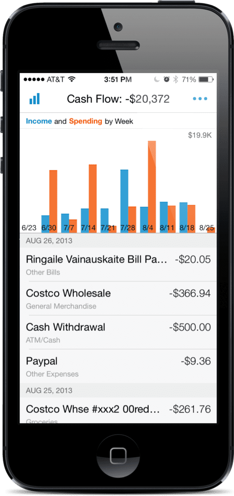 Screen shot from the Personal Capital app