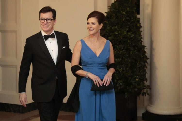Stephen Colbert and his wife at a black tie event