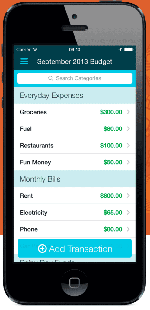 Screenshot from the You Need A Budget app