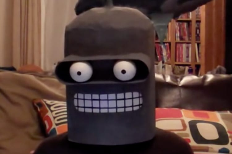 A man dressed as Bender, from Futurama